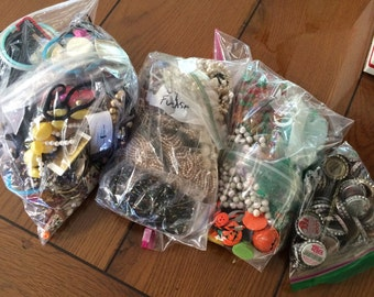 SALE! 7 LB Junk Lot, destash, vintage jewelry, Reuse, repair, repurpose, recycle, upcycle, charms, earrings, beads, bracelets, bottlecaps