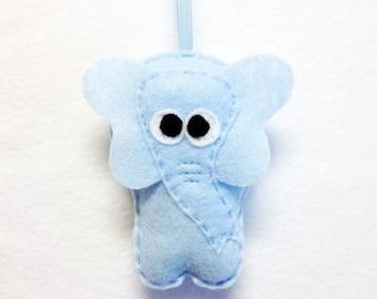 Elephant Ornament, Felt Ornament, Elphie the Blue Elephant, Felt Animal, Christmas Ornament