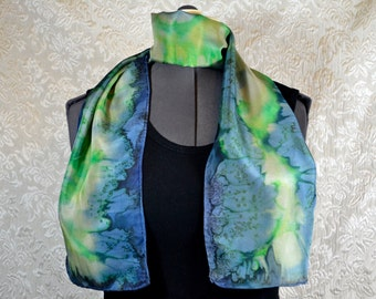 Hand dyed silk scarf, rectangular, in blue, green, and yellow