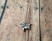 Dachshund initial necklace - dachshund jewelry, doxie necklace, silver dachshund necklace, weenie dog necklace, doxie jewelry