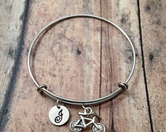 Bicycle initial bangle - bike jewelry, cyclist bracelet, triathlon jewelry, bicycle bangle, gift for cyclist, silver bike initial bangle