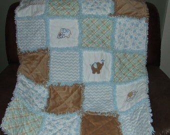 Custom Elephant n Minky Rag Quilt Personalized *Any Colors* Baby Crib Toddler Bedding to Lg Throw **Made To Order**