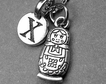 Matryoshka doll necklace, Matryoshka doll charm, russian doll necklace, russian doll charm, personalized necklace, initial necklace, letter