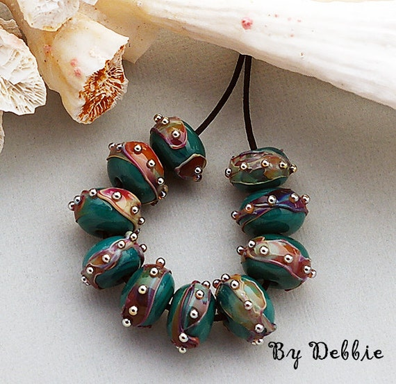 DSG-Debbie Sanders Glass Handmade Lampwork Beads (Made To Order) Teal Rounds