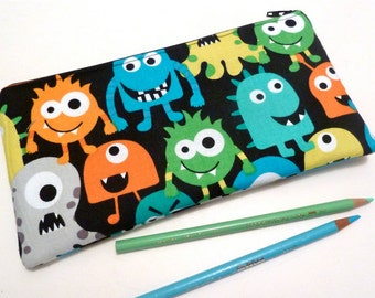 Monsters - Zippered Pouch - Pencil Pouch - Organizer - Gifts For Children