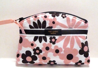 Black and Pink Floral Bridesmaid Gift Makeup Bag/Zippered Pouch Padded Flat Bottom Round Top