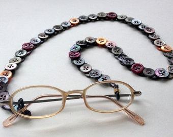"Vintage Button Eyeglass Chain  ""Twilight on the Beach"""