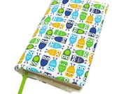 Book cover, STANDARD SIZE paperback book cover, mass market size, book protector, cotton, padded cover, Owls and more owls!