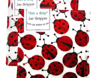 GET A GRIP Jar Grippers, set of two, jar lid openers, cotton, ladybugs