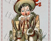 Victorian Child in Rabbit-Pulled Cart Red Border Instant Digital Printable for Easter