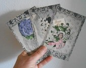 3 Antique French Happy New Year Postcards Lace Flowers Embossed Gold Greetings Shipping Included