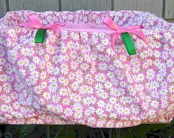 Pink with friendly daisies shopping cart cover for baby or toddler girls