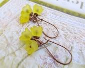 Yellow Flower earrings Nature jewelry dangle drop