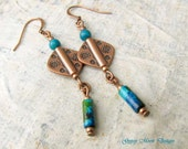 boho earrings Affordable gift for her Southwest copper dangle earrings Bohemian jewelry copperr anniversary gift for her