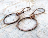 small copper earrings hammered circle round  hoop earrings copper jewelry