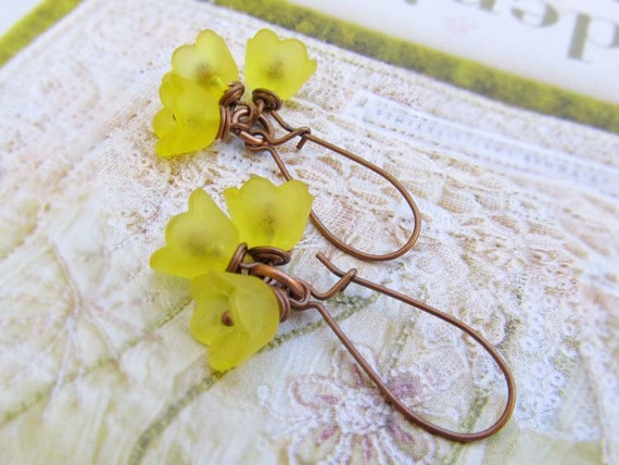 Yellow Flower earrings Spring earrings Nature jewelry Fashion jewelry