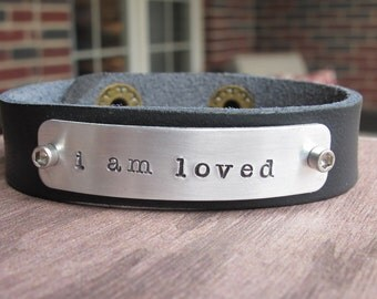 I Am Loved Leather Cuff Bracelet Black Leather Cuff Bracelet Personalized Hand Stamped
