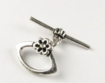 ON SALE Marquis Shaped Bali Sterling Silver Antiqued Toggle Clasp with Daisy Flower Design (1 set)