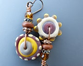 Asymmetrical Etched Lampwork Disc Bead Earrings in Rust and Mustard