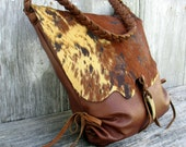 Leather Hobo Bag with Acid Washed Cowhide Flap in Colorado Leather RESERVED for Kelley