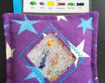 I Spy Bag - Mini with SEWN Word List and Detachable PICTURE LIST- Purple Stars