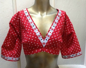Red and White Polka Dot Choli / Tribal Belly Dance/ Dance Costume/ Halloween/ Rockabilly/ Retro