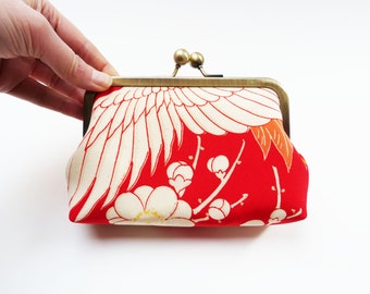 Clutch bag, red and white stork design, vintage Japanese kimono fabric, evening purse
