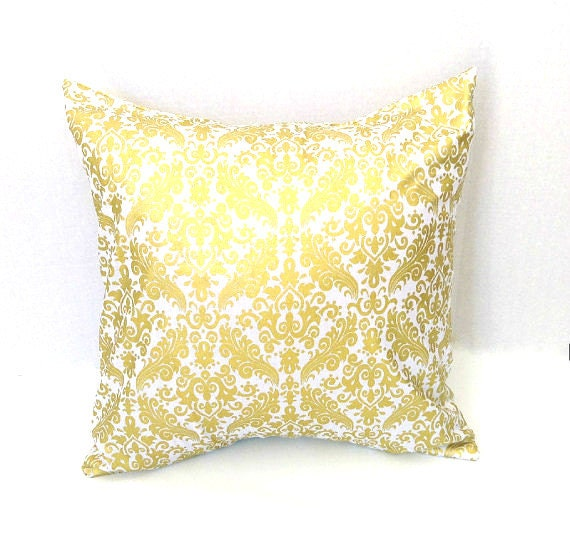 White and Gold Damask Pillow Cover Throw Pillow Cover