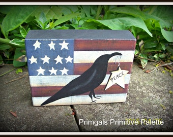 Primitive HP Americana Flag and Crow Shelf Sitter Block