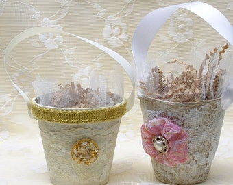 Two  Shabby Chic and Lovely Altered Peat Pots with ribbon handles and a little bling