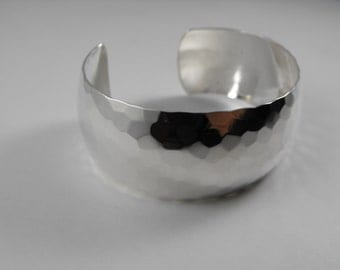 Hammered Finish Dome Style 26mm wide Sterling Silver Cuff Style Adjustable Bracelet