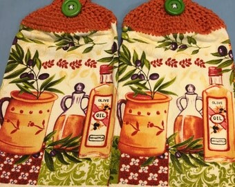 Olive Oil Print Towels set of 2