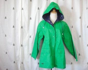 33% Off with VINTAGEHOLIDAYS coupon code Vintage Green and Navy Blue Raincoat, Reversible, Hood, Women, PVC, Size Medium, Aqua She