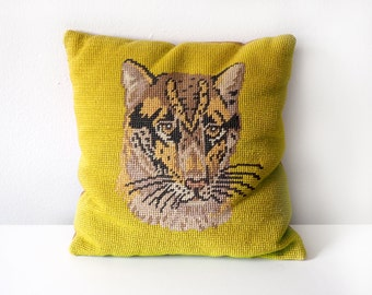 60s Needlepoint Leopard Accent Pillow / Cat Portrait with Acid Yellow Background