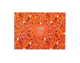 Red Floral Print Pattern Thank You card fun whimsical flowers