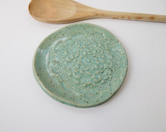 Lace Pottery - Spoon Rest - soap dish- cupcake plate- lace dish- candle plate - candle dish - jewelry dish- Trinket Dish- Turquoise plate