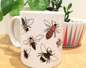 Bee illustrated mug - bumblebee , honey bee - white ceramic printed home gift