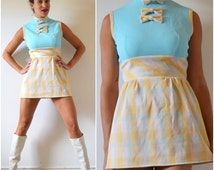 Vintage 60s 70s Pastel Plaid Color Blocked Bow Bodice Micro Mini Dress (size small, medium)