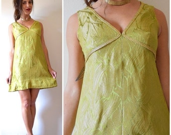 SUMMER SALE / 20% off Vintage 60s Metallic Chartreuse and Gold Brocade Empire Waist Mini Dress (size medium, large)