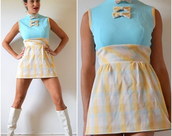 SPRING SALE/ 20% off Vintage 60s 70s Pastel Plaid Color Blocked Bow Bodice Micro Mini Dress (size small, medium)