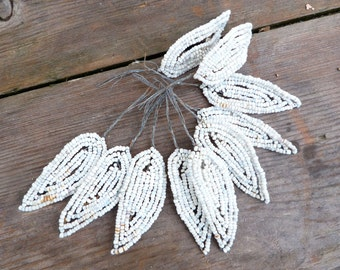 Vintage Antique old French 1900/1950 beaded leaves mat white set of 10
