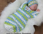 CROCHET PATTERN For Granny st Baby Cocoon, Papoose & Hat in 3 Sizes PDF 329 Digital Download