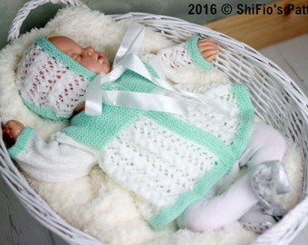 KNITTING PATTERN For Chloe Baby Jacket & Hat PDF 350 Digital Download