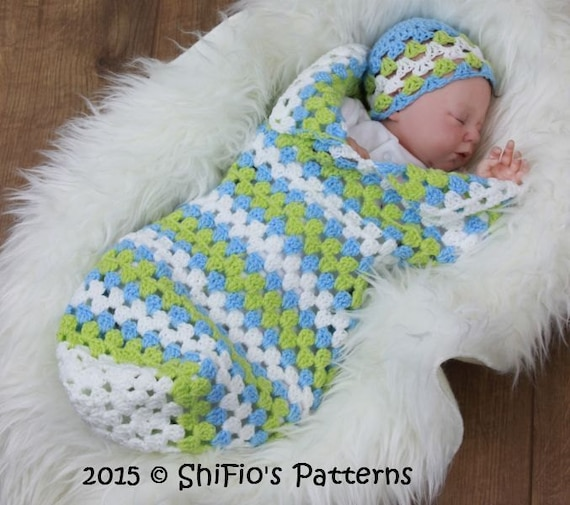 Crochet Baby Papoose Pattern Free : CROCHET PATTERN For Granny st Baby Cocoon Papoose & Hat in 3