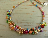 Frills crocheted natural necklace with colourful crystal drops