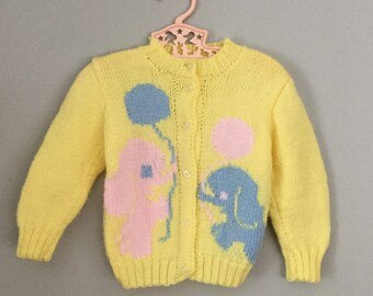 Vintage Handknit Yellow Elephant Cardigan Sweater 2t 3t