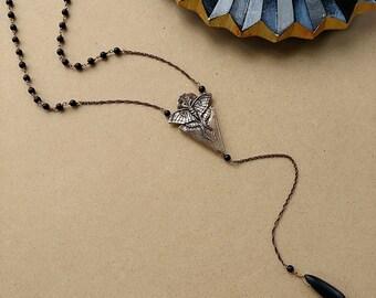 Luna Moth Necklace | Bronze and Matte Onyx