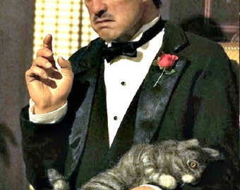 Godfather Cat Needle Felted / Custom Sculpture Pet Portrait by Gourmet Felted / Gray Tabby
