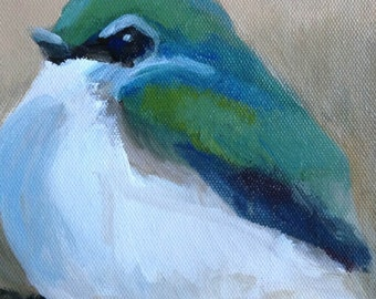 Original painting of Violet-Green Swallow