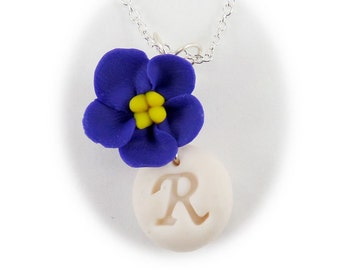 Personalized Purple African Violet Initial Necklace - African Violet Jewelry, African Violet Flowers